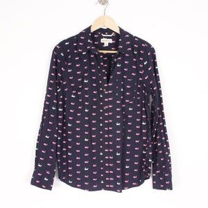 Navy Whale Print Button Down